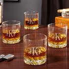4 Buckman Classic Monogram Whiskey Glasses