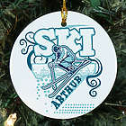 Personalized Ceramic Snow Skiing Ornament