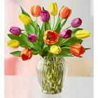 15 Assorted Tulips in Clear Vase