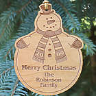 Personalized Snowman Wood Ornament