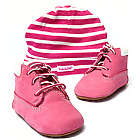 Girl's Pink Crib Timberland Booties and Hat