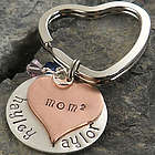 Copper Heart Personalized Hand Stamped Keychain