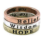 Hope, Wisdom, Belief Inspirational Rings