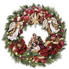 Thomas Kinkade Illuminated Wreath with Sculpted Nativity