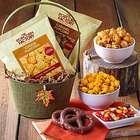 Autumn Treats and Leaf Accent Burlap Basket