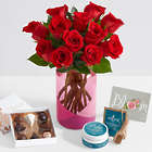 Ultimate One Dozen Red Rose Bouquet with Chocolates and Spa Set