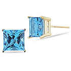 Swiss Blue Topaz Stud Earrings in 14K Yellow Gold