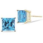 Swiss Blue Topaz Stud Earrings in 14K Yellow Gold