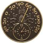 Pineapple Indoor/Outdoor Thermometer & Wall Clock Bronze