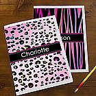 Animal Print Personalized School Folders