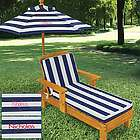 Kid's Personalized Striped Outdoor Chaise with Umbrella