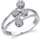 14K White Gold 1/4 Carat Diamond Cluster Ring