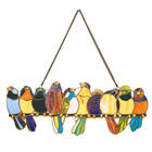 Birds on a Wire Stained Glass Hanging Panel
