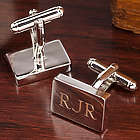 Rhodium Rectangle Personalized Cuff Links