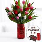 Tulips with Mason Jar & Chocolates