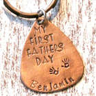 My First Fathers Day Handprint Hand Stamped Personalized Keychain