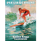 Personalized Pleasure Point Surfing Vintage Wood Plaque