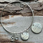Proud Military Mom Personalized Bangle Bracelet with Birthstone