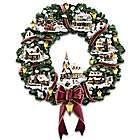 Thomas Kinkade Victorian Christmas Village Wreath