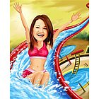 Waterslide Caricature Print from Photo