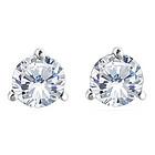1/4 Ct Round White Diamond Stud Earrings in 18K White Gold