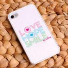 Love Hope Smile Personalized White Trimmed iPhone Case