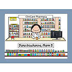 Personalized Pharmacist Cartoon Print