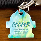 Fire Hydrant Personalized Dog Tag with Watercolor Design