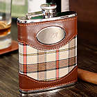 Personalized Cream Plaid Flask
