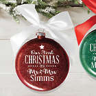 Our First Christmas Personalized Glass Ornament with Ribbon