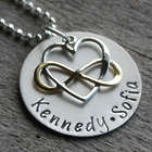 Personalized Hand Stamped Heart Golden Infinity Necklace