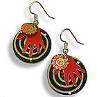 Red Hand Recycled Bottle Cap Art Earrings