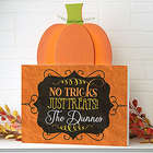 Personalized No Trick, Just Treats Pumpkin Tabletop Decor