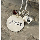 Personalized Big or Lil Sis Hand-Stamped Necklace