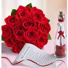 Message in a Bottle with 12 Stems of Red Roses
