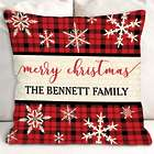 Personalized Merry Christmas Plaid Throw Pillow