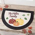 Personalized Plaid Pumpkins Half Round Doormat