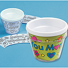 Plastic Color-Your-Own Mom Artist Flowerpots