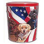 3.5 Gallons Popcorn Gift Tin with Patriotic Pups