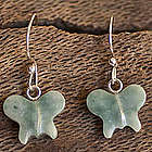 Green Butterfly Jade Dangle Earrings