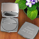 Personalized Simply Silver Square Compact Mirror
