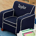 Comfy Kid's Personalized Navy Blue Upholstered Chair