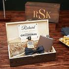 Classic Monogram Custom Groomsmen Whiskey Gift Box Set