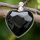 Queen of Hearts Obsidian Heart Pendant