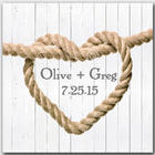 Bride and Groom's Personalized Heart Knot Canvas Print