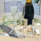 Personalized Beach Theme Champagne Glasses and Cake Server Set