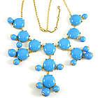 Light Blue Bubble Bib Statement Necklace