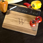 Personalized Modern Natural Bamboo and Slate Cheese Board