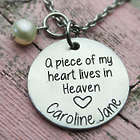 A Piece of My Heart Lives in Heaven Memorial Birthstone Necklace