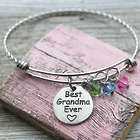 Best Grandma Ever Adjustable Wire Bangle Bracelet with Charms